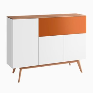 BAÜT Sideboard with Cream Lacquered Front by Henri Tujague
