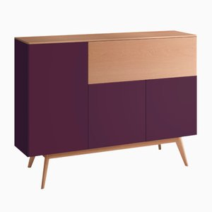 BAÜT Sideboard with Aubergine Lacquered Front by Henri Tujague