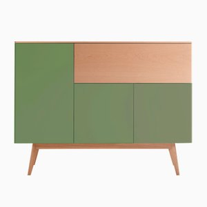 BAÜT Sideboard with Green Lacquered Front by Henri Tujague