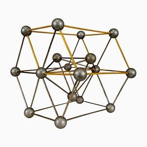 Wissenschaftliches Molekularmodell mit Kristallglas, 1950er