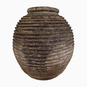 Vasija para aceite de oliva griego antiguo grande estriada
