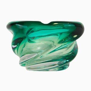 Vintage Glasschale mit grünem Farbverlauf von Scailmont