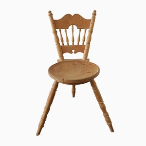 Vintage Three Legged Wooden Chair