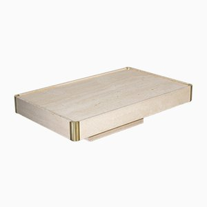Rectangular Travertine Coffee Table by Willy Rizzo, 1970s