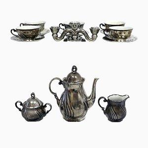 Servicio de café de porcelana plateada de RW Bavaria, años 20