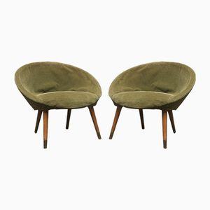 Runde Armlehnstühle, 1960er, 2er Set