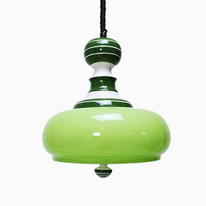 Ceramic & Glass Pull Down Ceiling Lamp from Brevettato, 1970s