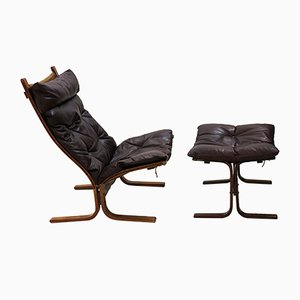 Siesta Lounge Chair with Ottoman by Ingmar Relling for Westnofa, 1960s