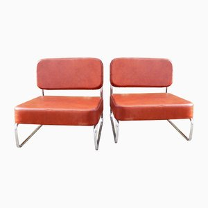 Metal & Leatherette Lounge Chairs, 1970s, Set of 2