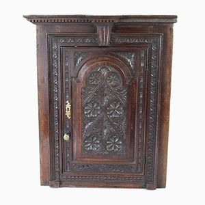 Antique Carved Oak Corner Cupboard