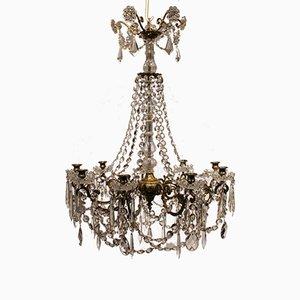 Lámpara de araña gustaviana grande con prismas bronce dorado