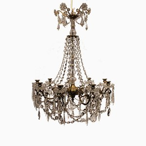 Large Gustavian Chandelier with Prisms and Lyre Gilded Bronze