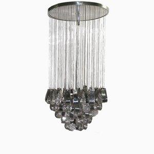 Lámpara de techo en cascada de vidrio y acero, años 70