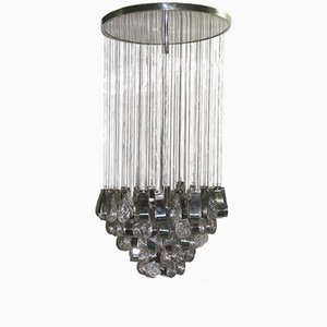 Steel & Glass Waterfall Ceiling Lamp, 1970s