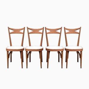 Sedie vintage in legno, anni '50, set di 4