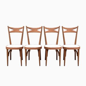 Vintage Wooden Side Chairs, 1950s, Set of 4