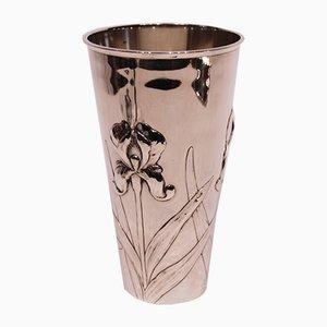 Vase Vintage en Argent Poinçonné avec Décoration Florale, 1920s