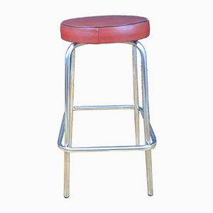 Low Barstool in Chromed Steel and Leather, 1950s