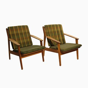 Model J55 Easy Chairs in Oak by Poul M. Volther for FDB, 1960s, Set of 2