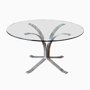 Tavolino da caffè in vetro e metallo cromato, Germania, anni '60