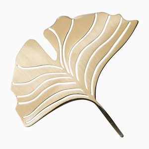 Still Leaves Ginkgo Sculpture in Brass by Architetti Artigiani Anonimi