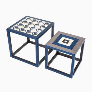 Tables Basses Partenope en Marqueterie Motifs CB1 et QB par Architetti Artigiani Anonimi, Set de 2