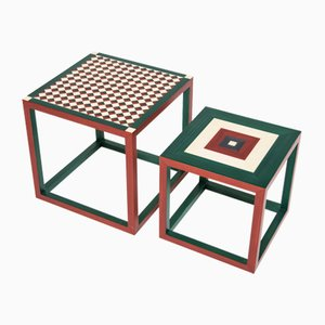 Partenope Coffee Tables in Sr & Qr Pattern Marquetry by Architetti Artigiani Anonimi, Set of 2