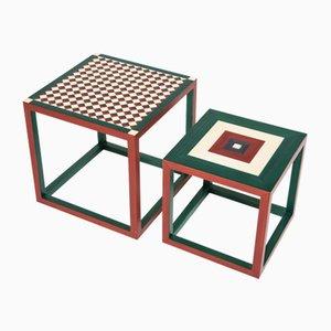 Tavolini da caffè Partenope con intarsio Sr & Qr di Architetti Artigiani Anonimi, set di 2