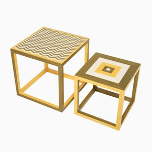 Partenope Coffee Tables in Zg & Qg Pattern Marquetry by Architetti Artigiani Anonimi, Set of 2
