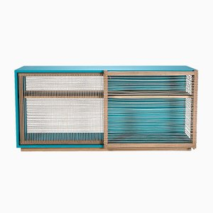 Mediterraneo Sideboard in Turquoise Lacquered Wood & Hemp Rope by Architetti Artigiani Anonimi