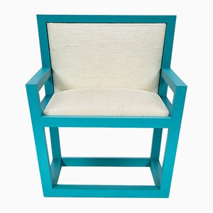 Mediterraneo Armchair in Turquoise Lacquered Wood & Hemp Rope by Architetti Artigiani Anonimi