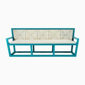 Italienisches Mediterraneo Sofa mit Gestell aus lackiertem Holz & Bezug aus Seilen von Architetti Artigiani Anonimi