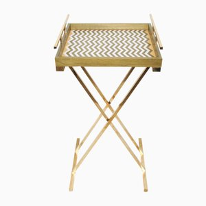 Partenope Tray Table in Zg Pattern Marquetry & Brass by Architetti Artigiani Anonimi
