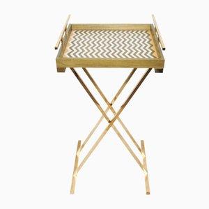 Partenope Tray Table in Zg Pattern Marquetry & Brass by Architetti Artigiani Anonimi