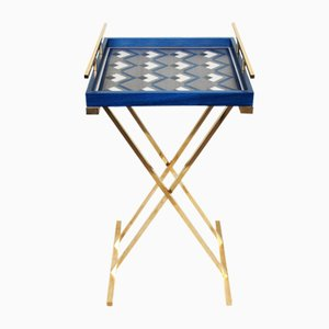 Partenope Tray Table in Cb4 Pattern Marquetry & Brass by Architetti Artigiani Anonimi