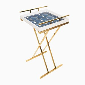 Partenope Tray Table in Cb3 Pattern Marquetry & Brass by Architetti Artigiani Anonimi