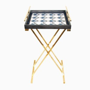 Partenope Tray Table in Cb1 Pattern Marquetry & Brass by Architetti Artigiani Anonimi