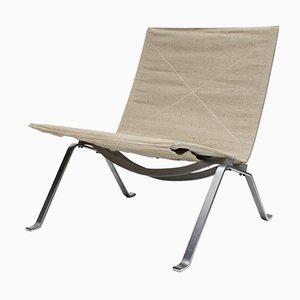 PK22 Stuhl mit Sitzfläche aus Leinen von Poul Kjærholm für E. Kold Christensen, 1960er
