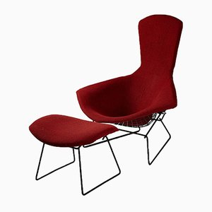 Bird Sessel mit Fußhocker von Harry Bertoia für Knoll International, 1950er