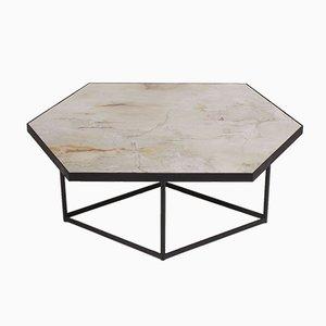 Tavolino CONFLUENCE di Gaspard Graulich in pietra naturale e acciaio