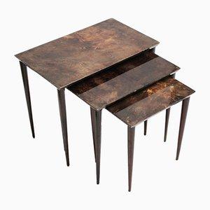 Tables Gigognes Vintage en Parchemin par Aldo Tura, Set de 3