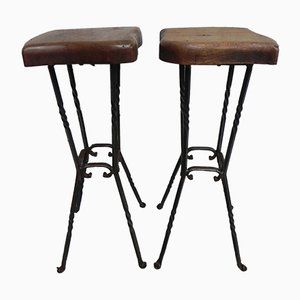 Vintage Bar Stools with Oak Seats, 1970s, Set of 2