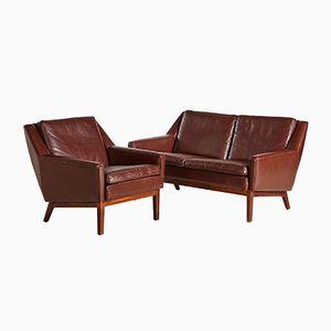 Cognacfarbene Mid-Century Sitzgruppe aus Leder, 1960er