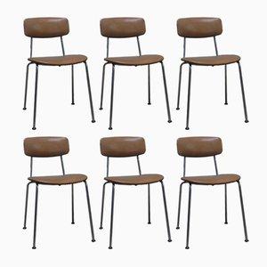 Chaises de Bureau en Similicuir et chromées, Italie, 1970s, Set de 6