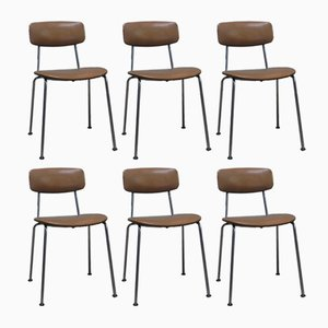 Italian Leatherette & Chrome Office Chairs, 1970s, Set of 6