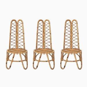 Italienische Mid-Century Stühle aus Korbgeflecht, 1950er, 3er Set