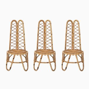 Mid-Century Italian Wicker Chairs, 1950s, Set of 3