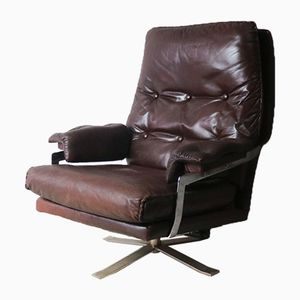 Mid-Century Danish Reclining Leather Lounge Chair, 1970s