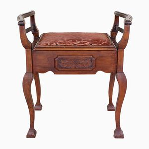 Antique Mahogany Piano Stool with Storage
