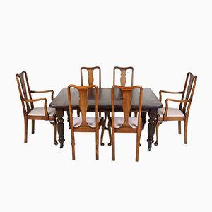 Juego de mesa de comedor y seis sillas victoriano antiguo